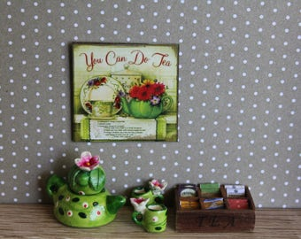 Dollhouse miniature Tea Time 2 sign (other 20 different subjects)