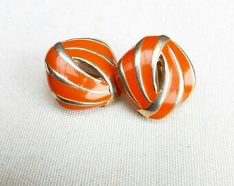 Orange Vintage Earrings Clip On