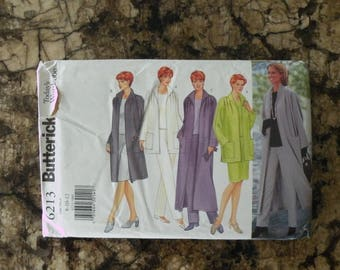 1999 UnCut Butterick Pattern 6213 Misses Jacket, Duster, Top, Skirt and Pants Size 8-10-12