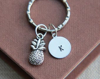Pineapple Keychain, Pineapple Keyring,Food Charm, Best Friends Gift, Sisters Gift, Friendship Gift, Personalized Keychain, Initial Keychain