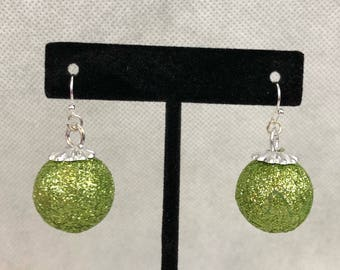 Green Glitter Christmas Ornament Dangle Pierced Earrings