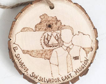 CUSTOM Woodburned Woodslice Ornament--Personalized Missionary Portrait with Mission details