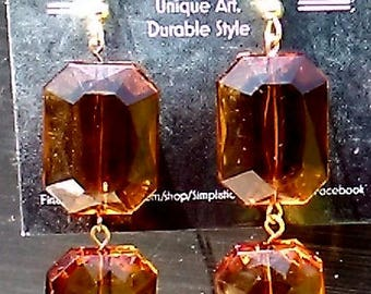 Brown and Gold Faceted Dangle Earrings