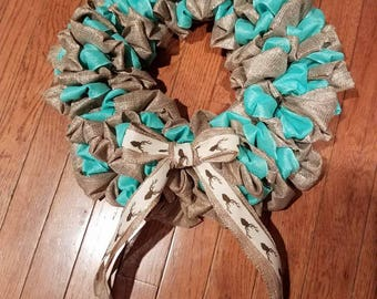 Mint and Gold Ribbon Christmas/Winter Wreath