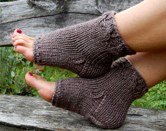 Knitted Pedicure Socks, Toeless Socks, Flip Flop Socks,  Cable Knit, Yoga Socks, Hand Knit Socks for Pedicure, Christmas Gift