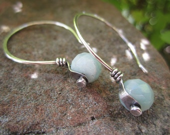 Sterling Silver Riveted Amazonite Earrings
