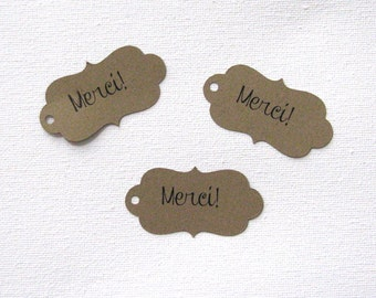 Merci gift tags set of 30 in any color