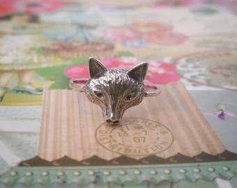 Fox ring, Silver fox ring, Small fox ring, Wild fox ring, Animal ring, Thin fox ring, Thon silver ring, Fox head ring, Fox