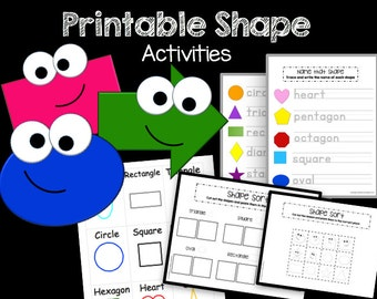 50% OFF SALE Shape Games - Printable PDF - Preschool - Kindergarten - Busy Bags - Classroom Centers