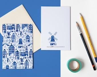 Holland blue watercolor pattern folded postcard with envelope / gevouwen kaart delfts blauw - design by Heleen van den Thillart