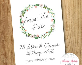 Simple Floral Wreath Save The Date