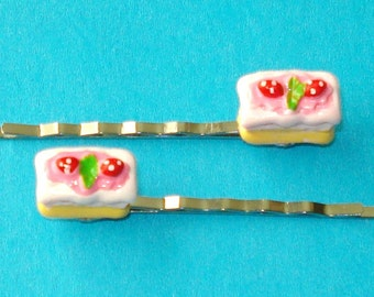 LAST ONE! Strawberry Shortcake Delicious Super Yummy Cake Hair Bobby Pins - Set of 2