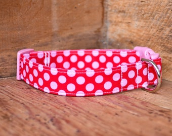 Valentine's Day Dog Collar - Red/Pink Polka Dot