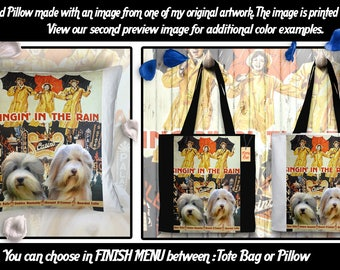 Bearded Collie Pillow/Bearded Collie Tote Bag/Bearded Collie Portrait/Dog Tote Bag/Dog Pillow/Custom Dog Portrait/Singin' in the Rain