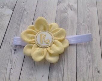 Personalized baby headband Yellow Flower - Girl