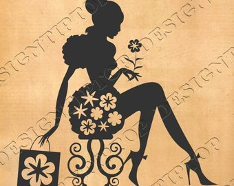 Girl's silhouette with a flower ,shopping svg, beauty saloon,svg, dxf, woman cut file, stencil vinyl, tattoo, wall decor, home decor