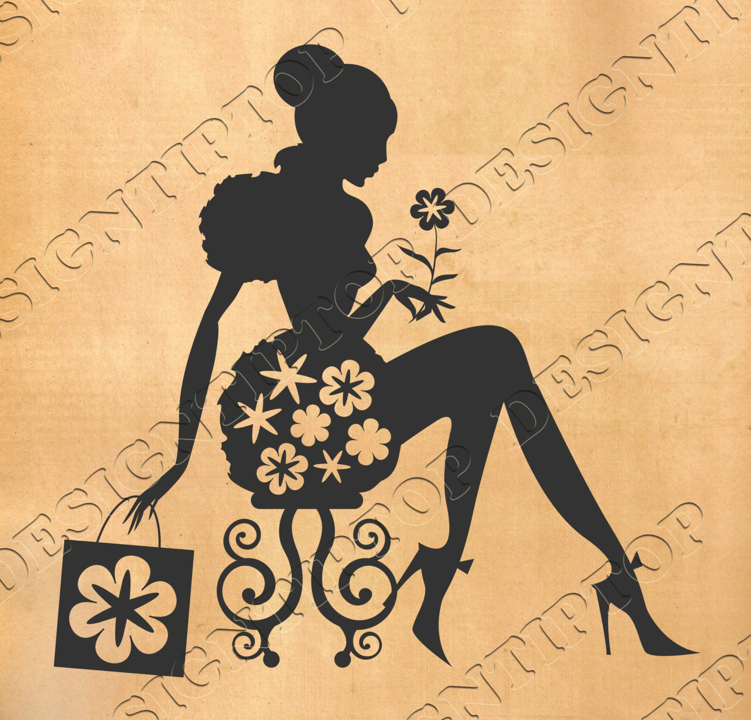 Girl\'s silhouette with a flower shopping svg beauty