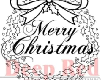 Deep Red Rubber Cling Stamp Merry Christmas Wreath with a Bow