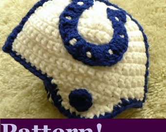 CROCHET PATTERN Indianapolis Colts Crochet Helmet w/Permission to sell finished items