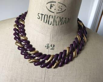 Napier statement necklace, chain link gold tone and purple enamel