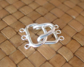 Silver Plated 3-Strand Hook Clasps (23x15mm) [Package of 10 or 50 sets]
