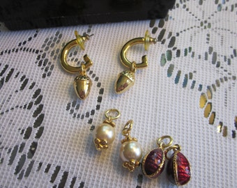 Joan Rivers Goldtone Interchangeable Hoop Earrings w 3 Sets of Egg Charms