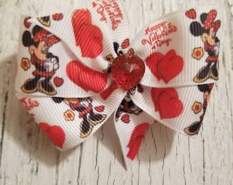 Mini Mouse print Bow on French barrette