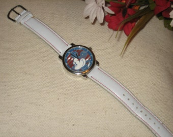 Disney Watch, Mickey Mouse, Special Addition Vintage Watch, Battery Operated, Watch, Red, White and Blue, White Band