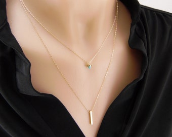 Gold filled layered necklace with turquoise and gold bar, turquoise necklace, gold bar necklace, long and layered necklace