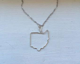 Ohio necklace, State outline, state pendant