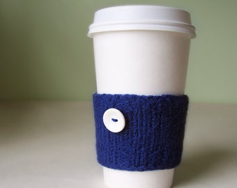 Coffee Cuff - Navy blue - Knitted & lightly felted cup cozy