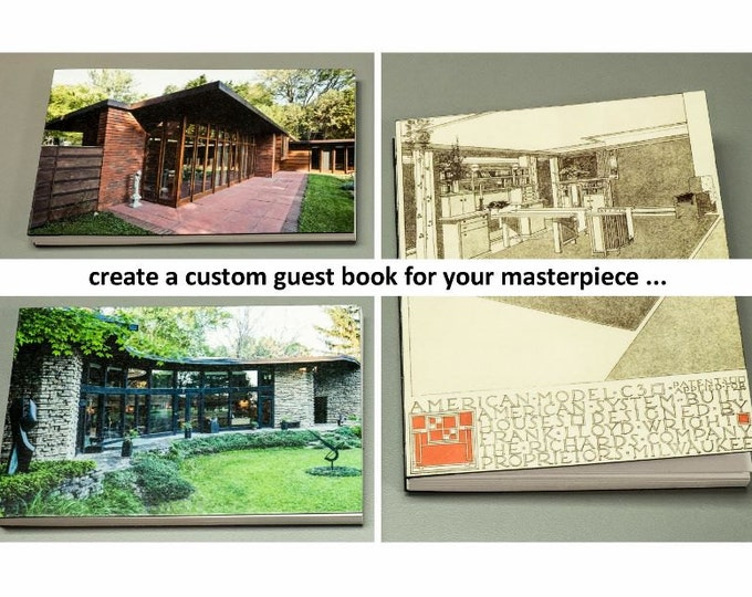 CUSTOM HOUSE GUESTBOOK | handmade coptic bound blank guest book journal housewarming gift w/ personal artwork image photo | aBoBoBook 6097