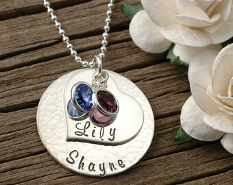 Mother's necklace - stacked discs with heart shape - personalized - hand stamped - birthstones - stacked, gifts for mom