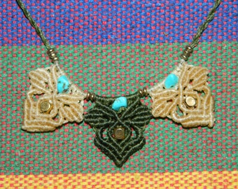 Macrame necklace with small turquoise beads