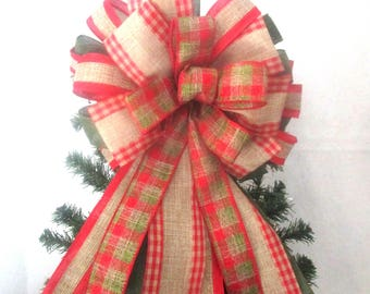 Red and Green Plaid Bow / Linen Burlap Bow, Christmas Bow / Christmas Tree Topper Bow
