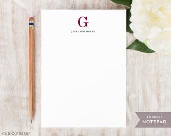 Personalized Notepad - TRADITIONAL MONOGRAM  - Stationery / Stationary Notepad