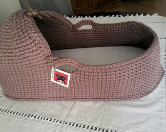 Baby Moses Basket , Baby Bassinet, Crocheted  Moses Basket with Matress