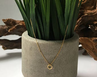 Tiny hexagon necklace / geometric necklace / layered necklace / dainty necklace / delicate necklace / minimalist necklace / gold necklace