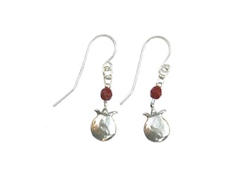 Sterling Silver Earrings with Sterling Silver pomegranate pendants and single garnet - er010