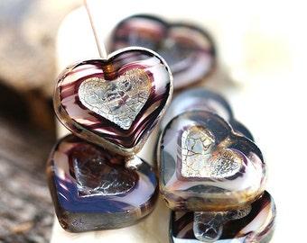 Black Heart beads, Picasso czech glass beads, table cut, Striped black, glass heart - 14mm - 6Pc - 0495