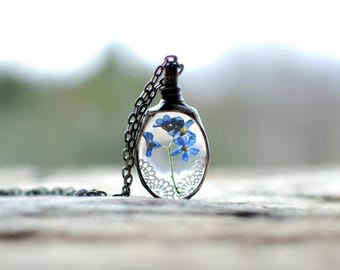 Forget Me Nots Necklace, Terrarium Jewelry, Botanical Necklace, Flower Jewelry, vergeet me niet ketting