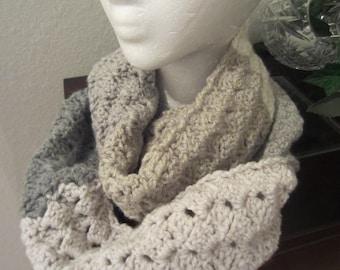 Hand Crochet Beige Cream Gray Neck Warmer Cowl Scarf Infinity Scarf