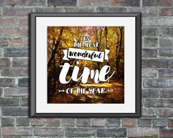 Printable poster Fall It's The Most Wonderful Time of the Year modern wall art bedroom nursery Autumn home decor Instant Download