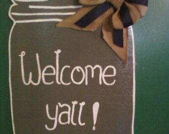 """Welcome Yall"""" Wooden Door Decor"""