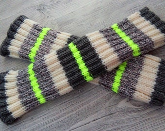 Knit Leg Warmers, Women's Leg Warmers, Knitted Leg Warmers,Striped Leg Warmers,Sporty Leg Warmers,Happy Colors,Neon yellow color,Sportystyle