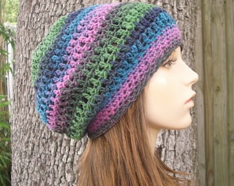 Crochet Hat Womens Hat Slouchy Beanie - Weekender Slouchy Hat in Aura Pink Green Blue Crochet Hat - Womens Accessories Winter Hat