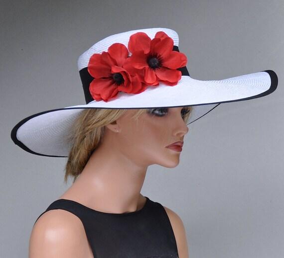 Ladies Summer Hat, Derby Hat, Wide Brim Hat, Garden Party Hat, Wedding Hat, Black & White Hat, Occasion Hat, Formal Hat