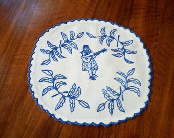 """Vintage old small blue embroidered 9"""" doily from the 50s, 60s"""