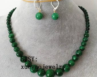 JADE SET- 6-14 mm green jade Gradient necklace & dangle earrings set