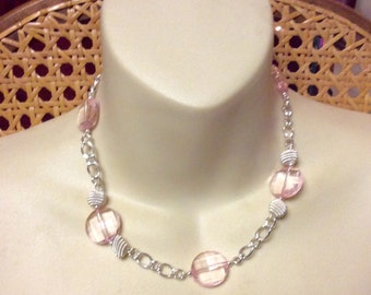 Vintage silver chain with pink faceted acrylic discs necklace.